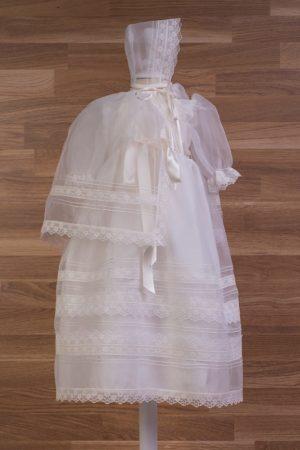Faldón bautizo con capota y capa