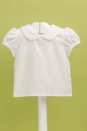 Blusita de bebé en plumeti manga corta - Ref 22019