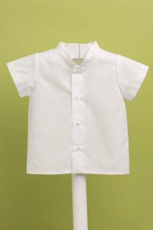 Camisa blanca de bebé popelín con cuello mao