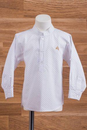 Camisa de niño en manga larga con topitos