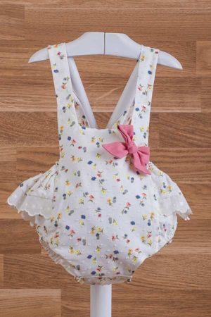 Ranita de bebé en plumeti con estampado de flores - Ref. 35120
