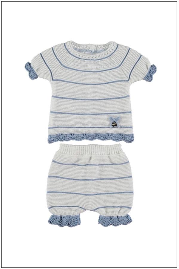 Conjunto de bebé de punto con rayas Ref -J957