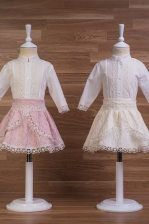 Conjunto de niña falda y camisa jacquard con flores - Ref. 30610