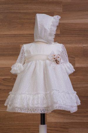 Vestido bautizo de tul con encajes y capota