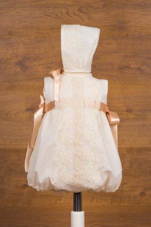 Pelele de bautizo en tul con topos, encajes y capota - Ref. 39281