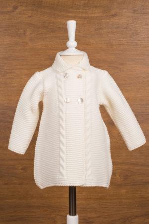 Abrigo de bebé en punto trenzado beige