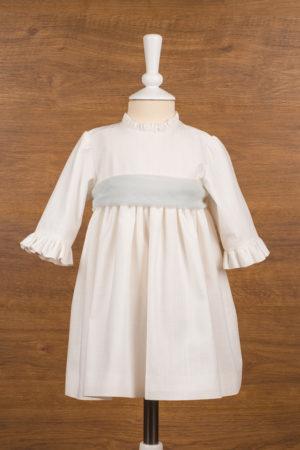 Vestido de ceremonia en lino con lazo de tul - Ref. 30321